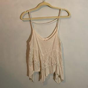 Flowy cream top with white lace